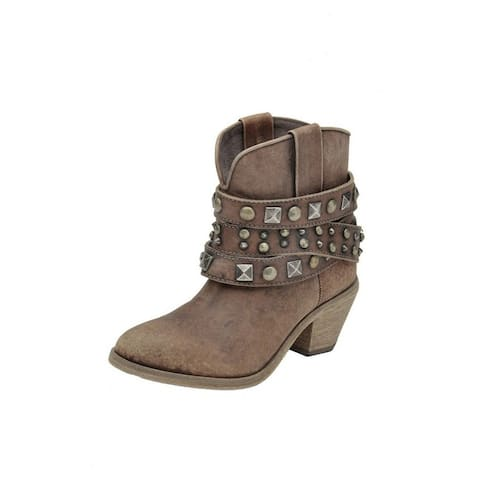 Circle G Western Boots Womens Leather Studded Ankle Round Toe