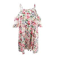 Jessica Simpson Women's Garden Party Printed Off-The-Shoulder Cover-Up - White Multi