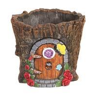 Signals Fairy Door in Tree Stump Planter - Fairy Garden Tree Trunk Cement Flower Pot / Garden Planter Lawn Ornament