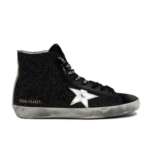 Golden Goose Womens Francy Shine Laminated Star Glitter Hi Top Zip Up Sneakers