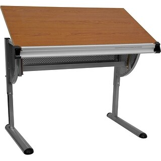 Offex Adjustable Drawing and Drafting Table with Pewter Frame [OF-NAN-JN-2433-GG]