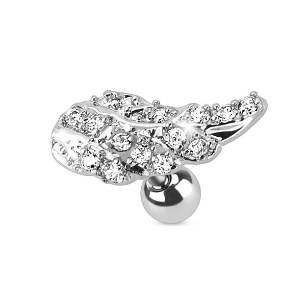 Angel Wing with Paved CZ 316L Surgical Steel Cartilage/Tragus Barbell (Sold Ind.)