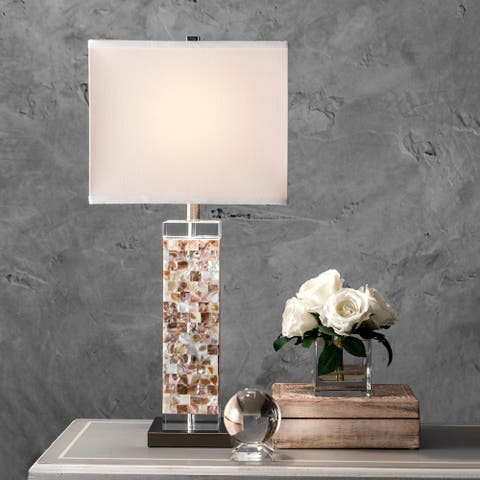"nuLOOM 29"" Mosaic Shell Prism Linen Shade Table Lamp"