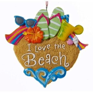 I Love the Beach Heart Christmas Holiday Ornament Resin