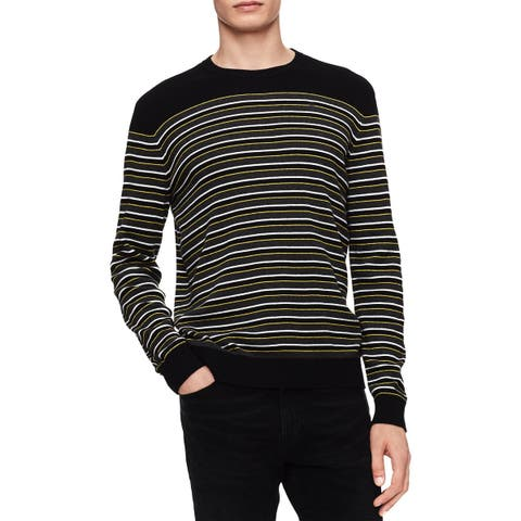 Calvin Klein Mens Big & Tall Pullover Sweater Striped Ribbed Trim
