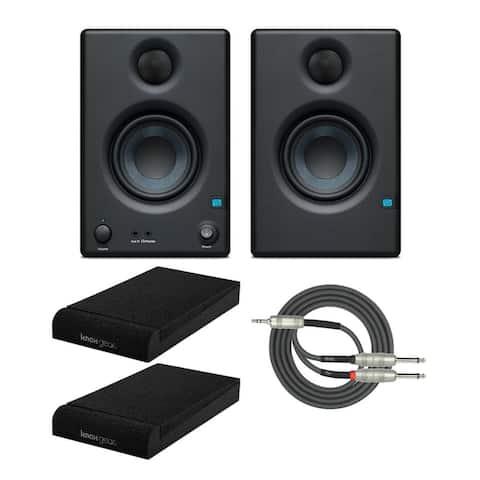 PreSonus Eris E3.5 BT Monitors Pair Bundle w/ Isolation Pads & Cable