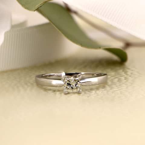 Auriya 14k Gold 1/2ctw Princess-cut Solitaire Diamond Engagement Ring