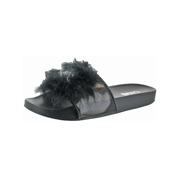 Carlos by Carlos Santana Womens Cady Slide Sandals Feathers Jewels