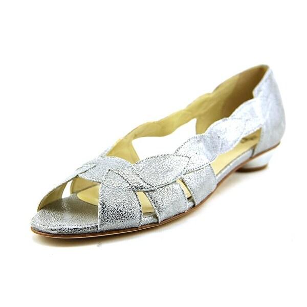 Amalfi By Rangoni Iside Women W Open Toe Leather Silver Sandals
