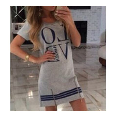 Letters Love Printing Zipper Dress Long T Shirt