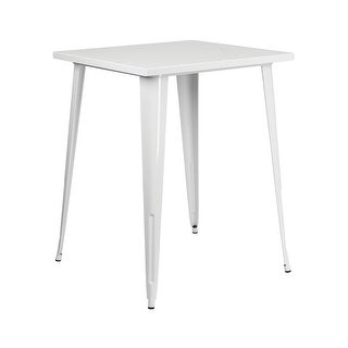 Offex 31.5'' Square Bar Height White Metal Indoor-Outdoor Table