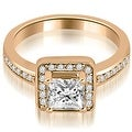 1.05 cttw. 14K Rose Gold Halo Princess and Round Cut Diamond Engagement Ring - Thumbnail 0