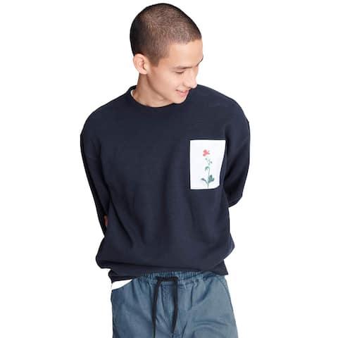 Rag & Bone Mens Flower Graphic Crewneck Sweatshirt Small Navy