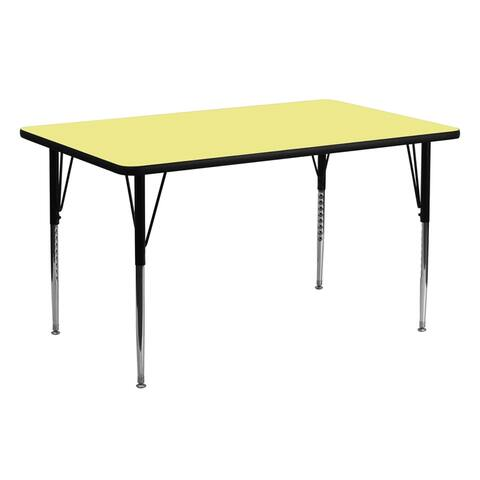 """Offex 30""""W x 72""""L Rectangular Activity Table with Yellow Thermal Fused Laminate Top and Standard Height Adjustable Leg - N/A"""