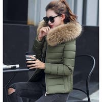 Womens Hooded Slim Fit Winter Zip Up Short Coat - Army Green - M