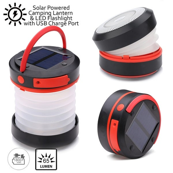 Indigi® Solar Powered LED Camping Flashlight & Lantern - Also USB Chargeable, Emergency USB Charge Port Power Bank - Collapsible