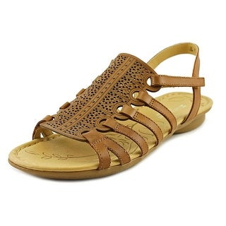 Naturalizer Whisper Women W Open-Toe Leather Brown Slingback Sandal