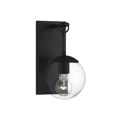 1 Light Matte Black Exterior Wall Sconce