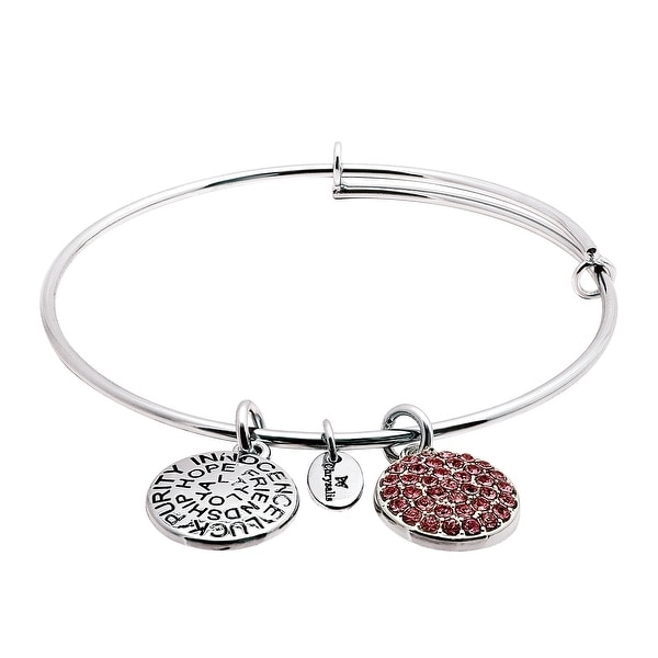 Chrysalis Expandable October Bangle Bracelet with Pink Swarovski elements Crystals in Rhodium-Plated Brass