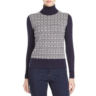 Tory Burch Womens Turtleneck Sweater Jacquard Link Long Sleeves