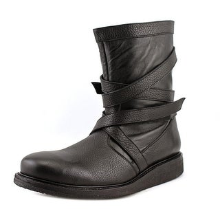 Trussardi 1RS744W045 Men Leather Black Motorcycle Boot