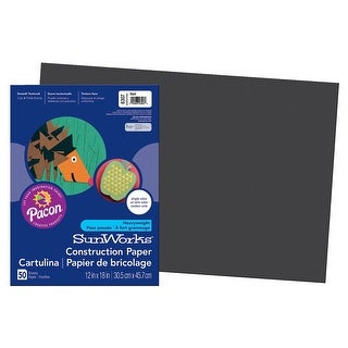 SunWorks Heavyweight Construction Paper, 12 x 18 Inches, Black, Pack of 50