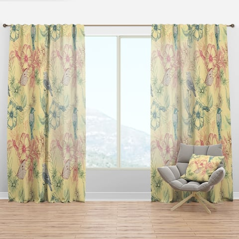 Designart 'Spring Pattern with Butterflies on Flowers' Modern & Contemporary Curtain Panel