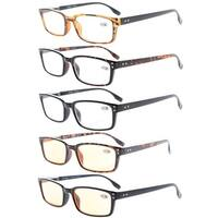 Eyekepper Readers 5-Pack Classical Spring-Hinges Reading Glasses+3.5