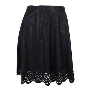 Stoosh Juniors Laser-Cut Fake-Leather Skirt (S, Black) - Black