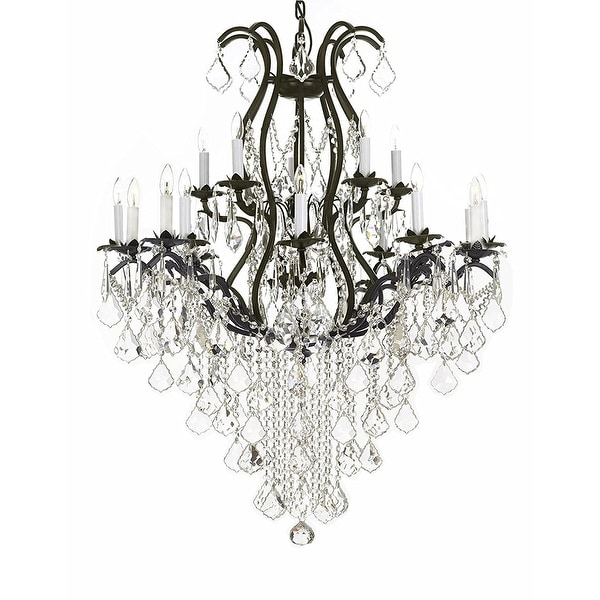 Swarovski Crystal Trimmed Chandelier Wrought Iron Lighting Chandeliers Dressed With Black