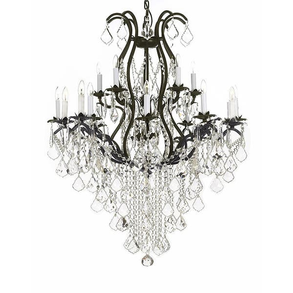 Swarovski Crystal Trimmed Chandelier Wrought Iron Lighting Chandeliers Dressed With