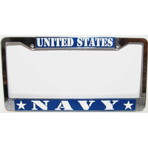 Shop US NAVY Chrome Metal Auto License Plate Tag Frame - Ships To ...