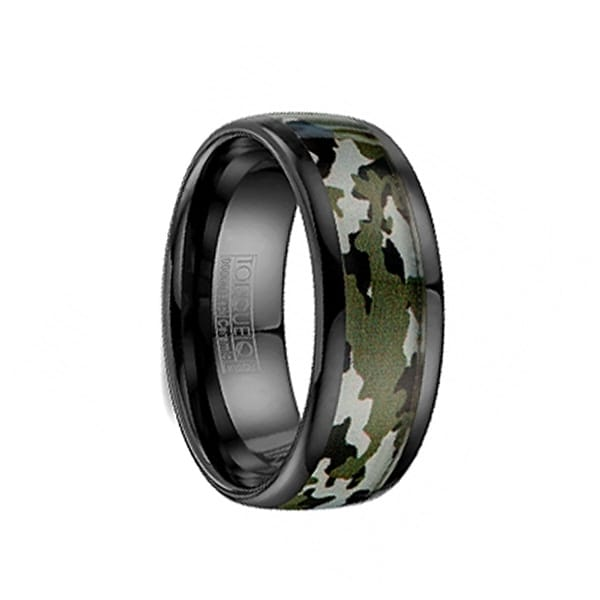 Black Ceramic Wedding Band Camo Pattern Inlay with Polished Edges by Crown Ring - 8mm