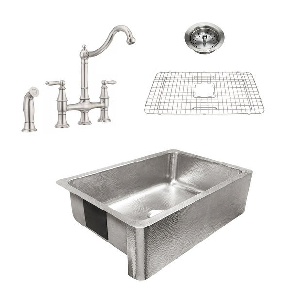 Percy Apron-Front Brushed Stainless Steel 32 in. Single Bowl Kitchen Sink with Pfister Stainless Bridge Faucet All-in-One Kit. Opens flyout.