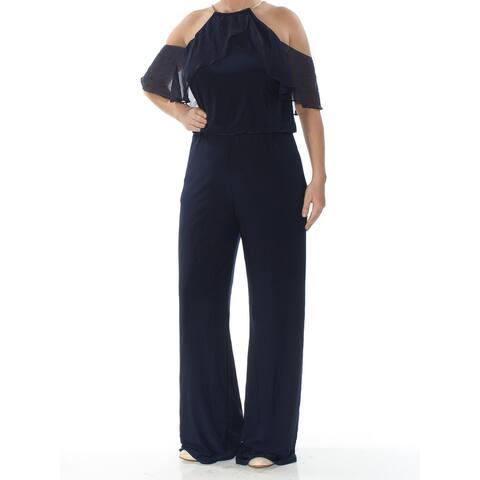 XSCAPE Womens Navy Short Sleeve Wide Leg Evening Jumpsuit Size 14