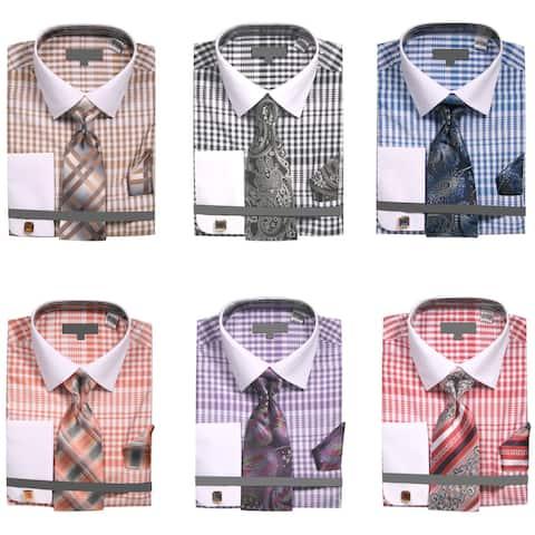 Men's Two Tone Plaid French Cuff Dress Shirt with Tie Handkerchief Cufflinks
