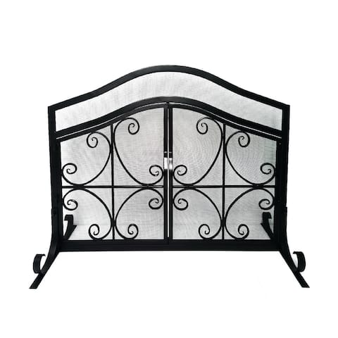 43 Inches Grid Scalloped Metal Decorative Fireplace Screen with Doors & Scrollwork, Black