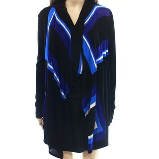 INC NEW Blue Women's Size Large L Colorblock Draped Cardigan Sweater