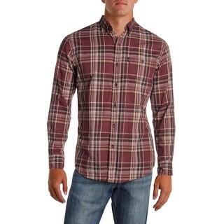 G.H. Bass & Co. Mens Button-Down Shirt Plaid Work Wear