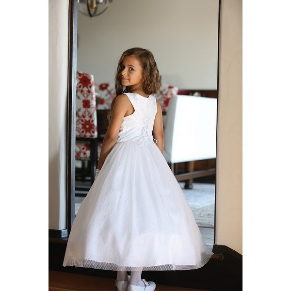 0cb95bbc6b7 Angels Garment Girls White Mesh Lace Tulle Bead Bolero Communion Dress 16-18