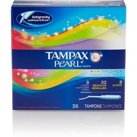 Tampax Pearl Plastic Triple Pack Tampons, Fresh Scent, Assorted 36 ea