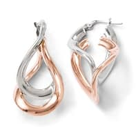 Italian Sterling Silver Rose Gold-plated Double Hoop Earrings