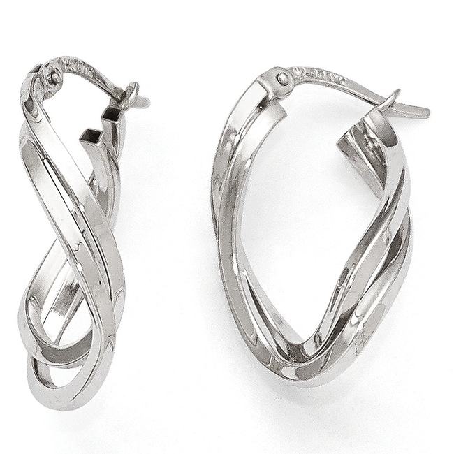 10k White Gold Polished Oval Hoop Earrings