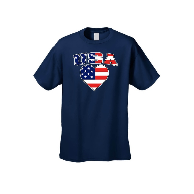 Unisex USA Flag T Shirt Patriotic Pride w/ Love Heart Red White & Blue American