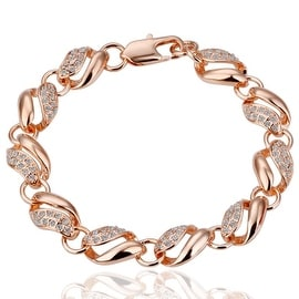 18K Rose Gold Thick Chain Interconencted Pave' Bracelet with Swarovski Elements
