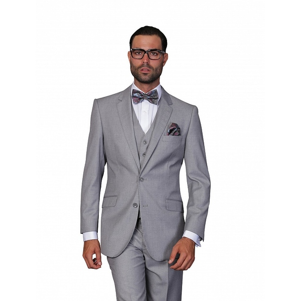 ST-100 Men's 3pc Solid GREY Suit, Modern Fit, 2 Button, 2 Side Vent, Flat Front Pants
