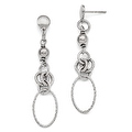 Italian Sterling Silver Polished & Textured Post Dangle Earrings - Thumbnail 0