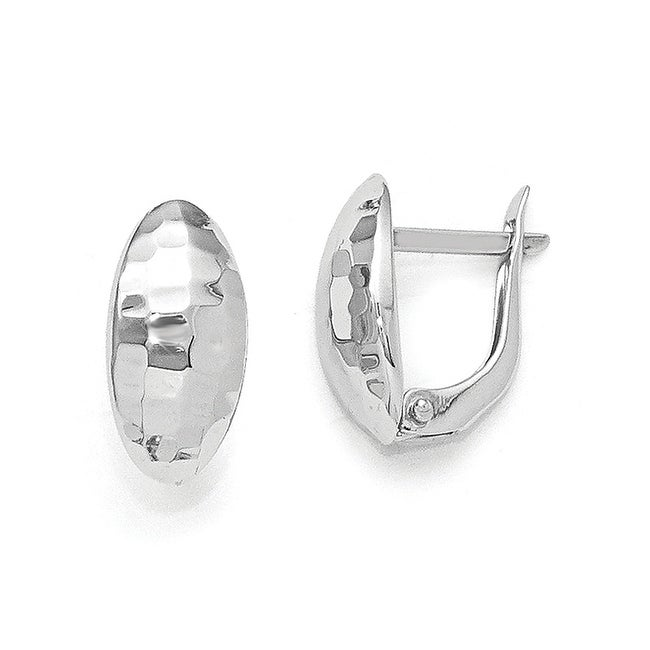 14k White Gold Polished & Hammered Hinged Post Earrings