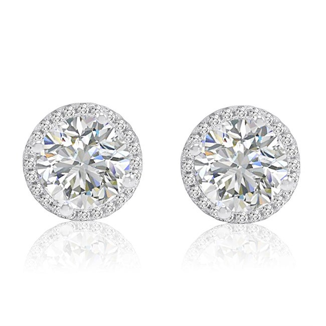 Amanda Rose 6ct tw Sterling Silver Halo Stud Earrings made with Swarovski Cubic Zirconia