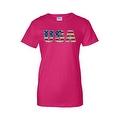 Women's Juniors T-Shirt United States USA Flag American Pride Stars & Stripes Tee - Thumbnail 3